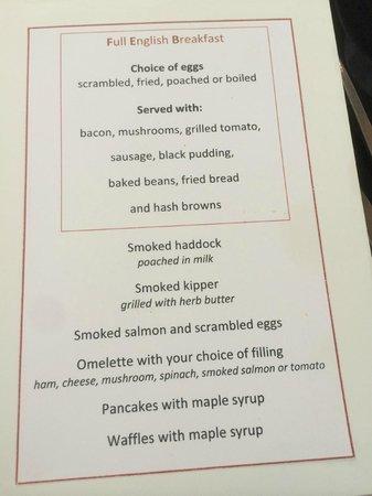 The Duke of Richmond Hotel: Menu for breakfast.