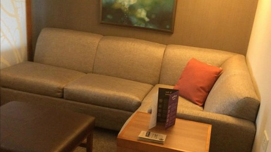 Hyatt Place St. Louis/Chesterfield: Big sofa and ottoman (I think there's a sofabed in there)