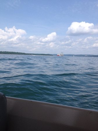 Table Rock Lake: On the lake with Branson Belle Steam Boat in the background!