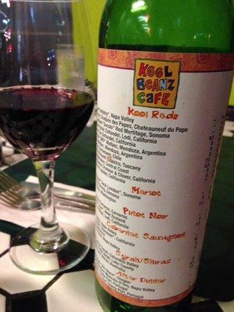 Kool Beanz Cafe: the Wine List