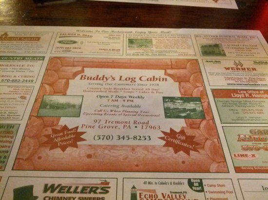 Buddy's Log Cabin Family Restaurant: Placemat