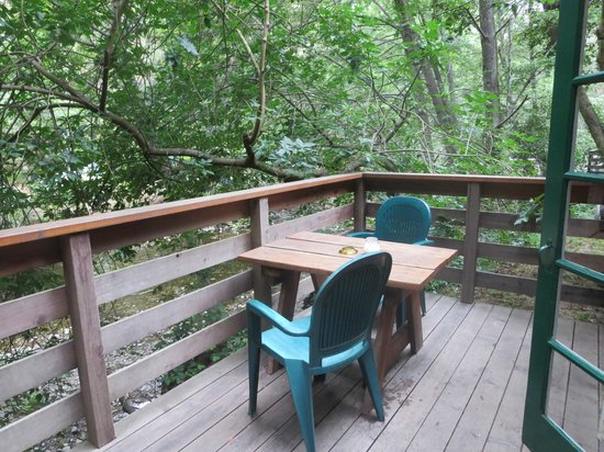 Ripplewood Resort: deck out back overlooking river