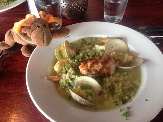 Ports Cafe: Monk fish with seafood risotto, delicious!