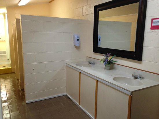 Cascade Lake Recreation Area: Sink and vanity area in Bathroom Facility by site D10