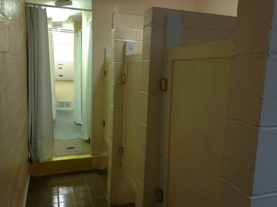 Cascade Lake Recreation Area: 3 toilet stalls in Bathroom Facility by site D10