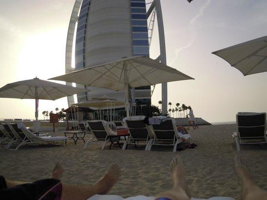Burj Al Arab Jumeirah: view from our beach chairs on the hotels private beach