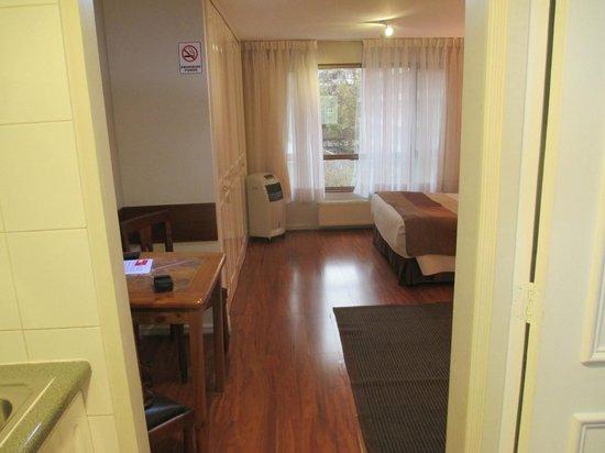 Apart Hotel Cambiaso: Vista desde el pasillo de entrada (kitchenette)