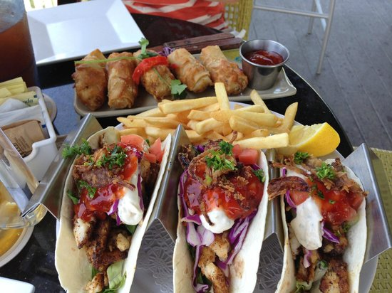 Eagle Ray's Bar & Grill: Fish tacos and lobster spring rolls