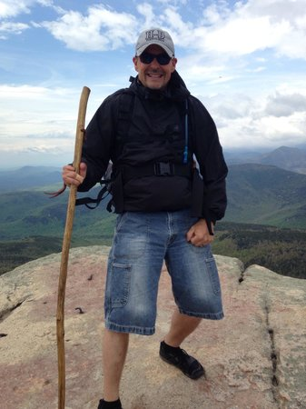 Mount Chocorua: At the top 30 mph winds from the back!