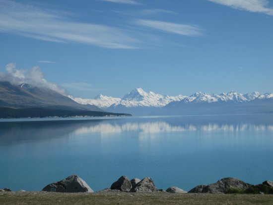 View From Lake Pukaki Visitor Centre Of Mt Cook