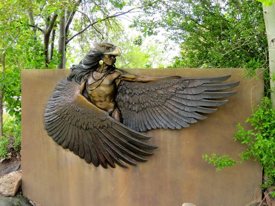 Benson Park Sculpture Garden: Indian with eagle head and wings