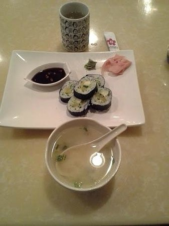 Sakura Japanese Steak House & Sushi: Miso Soup and Vegetable Roll and Green Tea