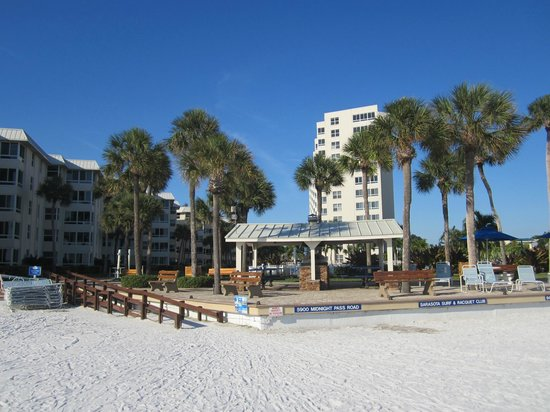 Sarasota Surf and Racquet Club: Resort looking from beach.