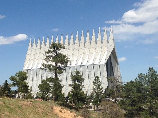 United States Air Force Academy : view of Chapel from the path that leads to the visitors center.