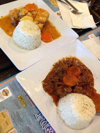 Don Tello: Chicken fricase and beef stew rice