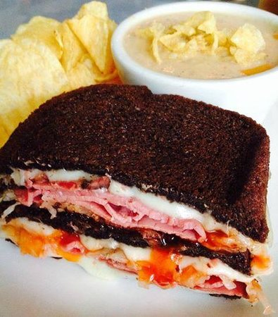 """Steves' Market and Deli: Steves' Legendary """"Shorty the Jew"""" Reuben paired with Barbie's Spiked German Potato Soup."""