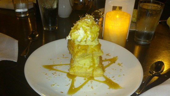 Alchemy Market and Cafe: triple layer puff pastry coconut creme pie drizzled with lemon caramel