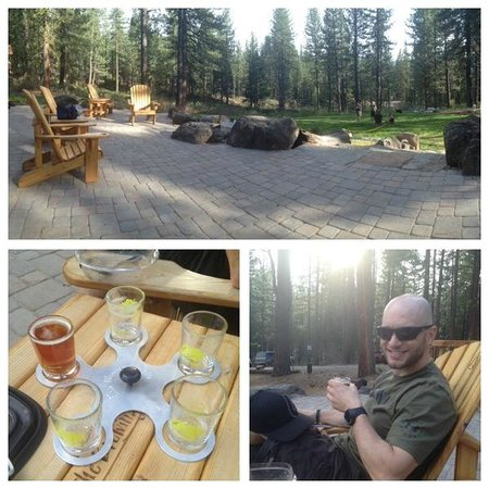 The Brewing Lair: Panoramic of the patio and grounds, the sampler, a happy customer