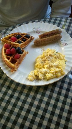 Hillcrest Inn: My husband's main course. I don't eat eggs so I got extra waffles and I surely wasn't complainin