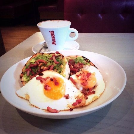 Strada - Cobham: The only way to start your morning! Avocado Smash accompanied by a beautifully made Musetti coff
