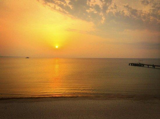 Bayside: Sonnenaufgang vom Vordach