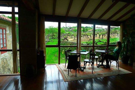 Rectoral de Anllo: Salón de la casa con vistas a los viñedos