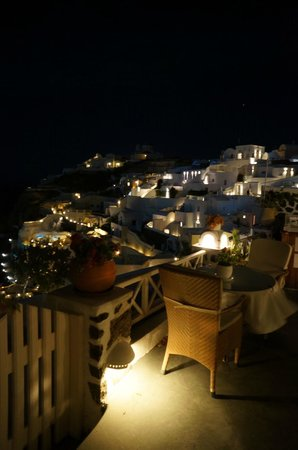 Alexander's Boutique Hotel of Oia: View from room at night