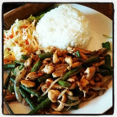 Pho Lee Vietnamese Restaurant: Stir fried lemon grass chicken and rice with egg rolls and salad..