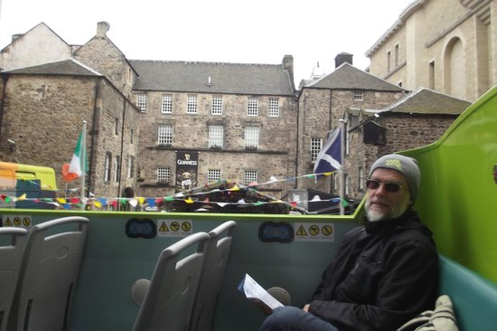 Edinburgh Bus Tours: At the back of the bus, the passing view.