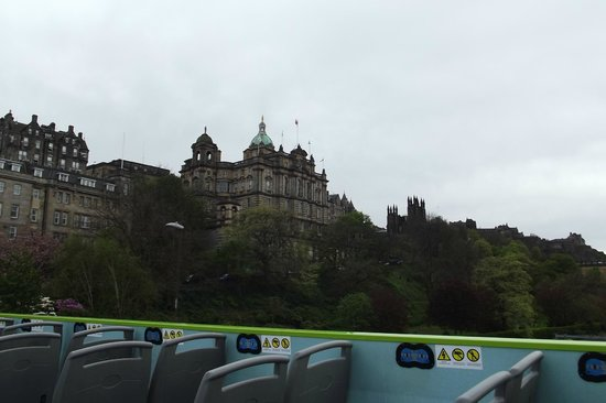 Edinburgh Bus Tours: Looking up towards the Castle Mound and the Royal Mile.