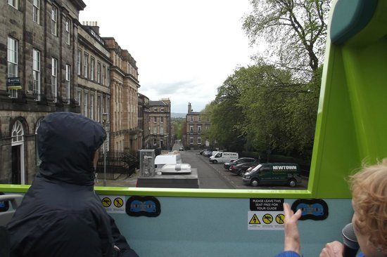 Edinburgh Bus Tours: View down the street, past the other passengers.