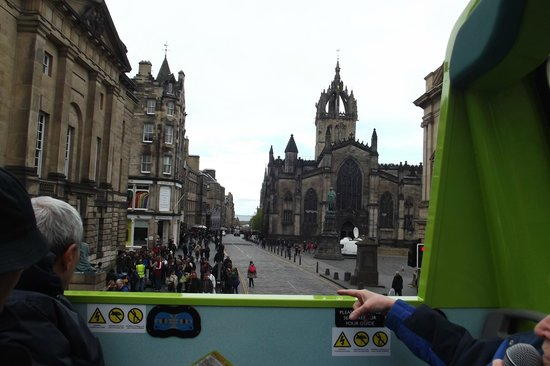 Edinburgh Bus Tours: St Giles' Cathedral from the top deck.
