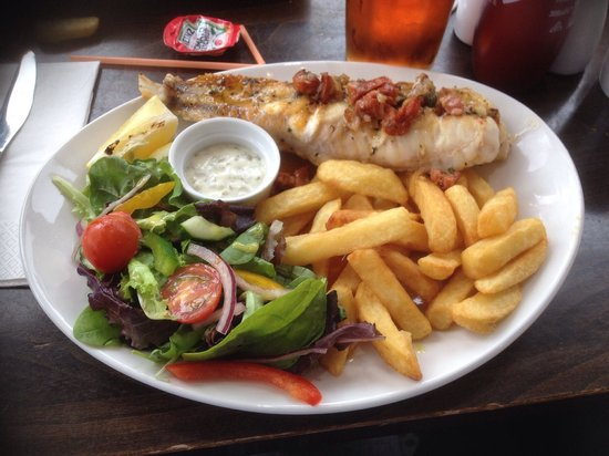 Simply Fish: Monkfish Tail with Chorizo and Thyme butter served with salad and chips and home made tartare sa