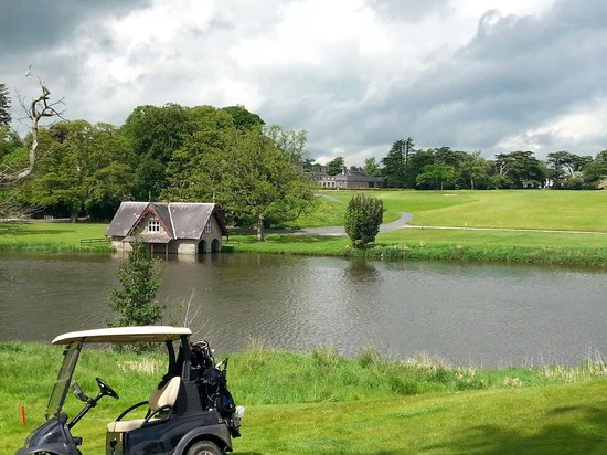Carton House Golf Club: Boat house with hotel in background. Taken from the 18th green on Montgomery course.