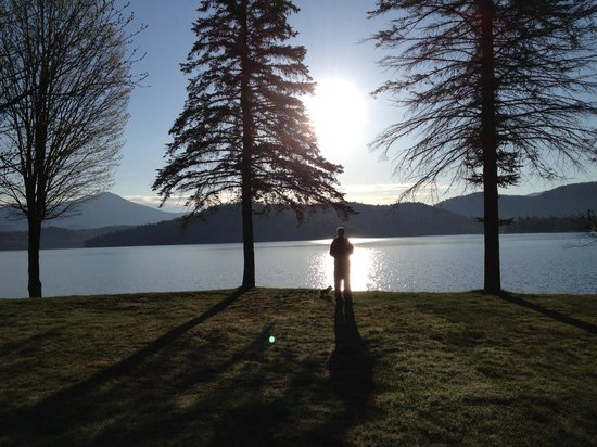 Lake Placid Lodge : sunrise view of my husband and pup from our cabin window