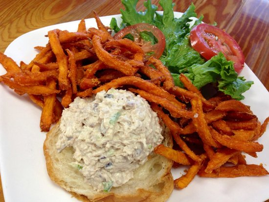 The Purple Onion Cafe: Chicken Salad w/Sweet Potato Fries