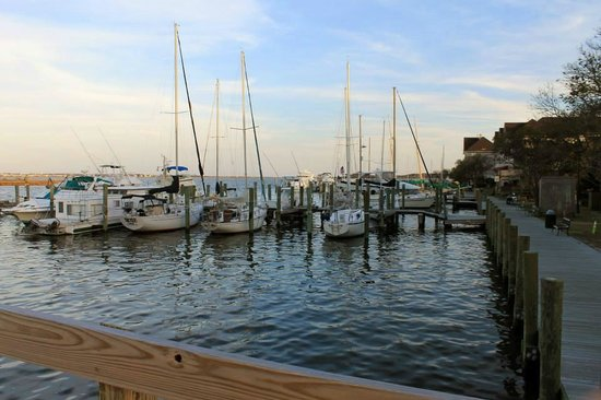 1587 Restaurant: The view from the little wooden bridge. What you'll see at dinner.