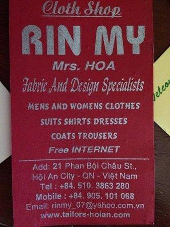 Rin My Fashion Tailors : the card
