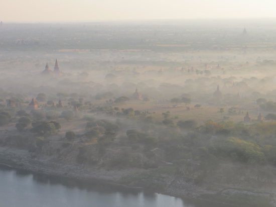 Balloons over Bagan: Misty riverbanks