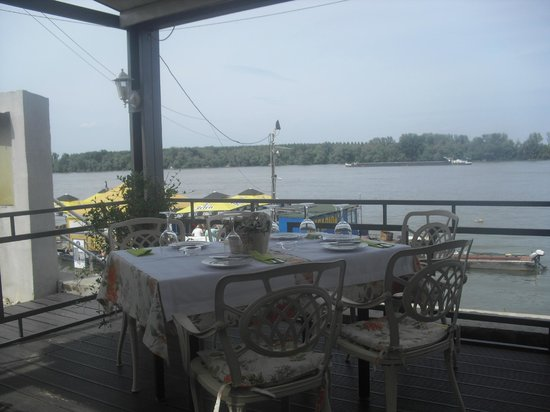 Saran: Nice decorated table on the front terrace near Danube river, nice for dinner or lunch with frien