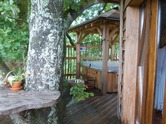 Cabanes Perchées dans les Arbres : spa et terrasse