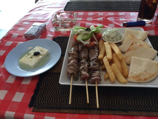 Pattayanis Greek Taverna : Greek Souvlaki platter with Authentic feta cheese!