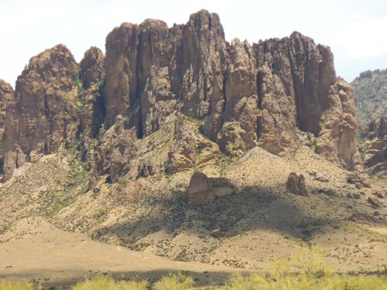 Goldfield Ghost Town : Part of the Superstition Mountains as seen close up from the nearby Lost Dutchman State Park.