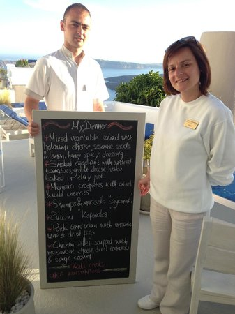 Iconic Santorini, a boutique cave hotel: Tonight's Menu