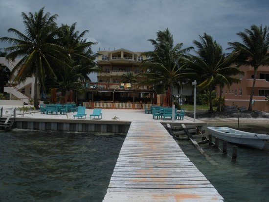 Island Magic Beach Resort : a look from the end of the pier toward the Island Magic Resort