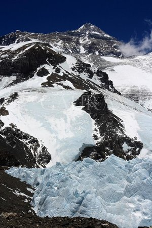 Mt. Qomolangma Nature Reserve : Everest summit from near the Camp 2 @ 6200 mts