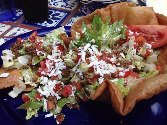 Riverwalk Cantina: Taco salad with ground beef (chicken also available), slightly greasy taco shell