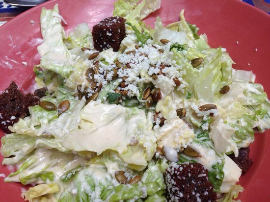Riverwalk Cantina: Caesar salad - drowned in dressing