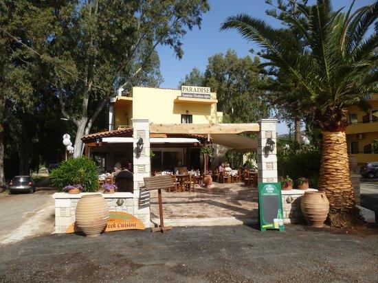 Taverna Paradise Studios & Apartments : Terrasse des Hotels/ Restaurant
