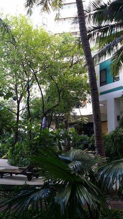 Chatrium Residence Sathon Bangkok: Garden view from restaurant on 4th floor